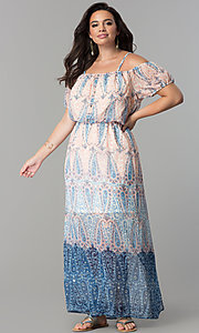Plus-Size Maxi-Length Print Party Dress