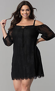 Image of plus-size off-shoulder lace party dress with straps. Style: AS-i700406A68X Detail Image 2