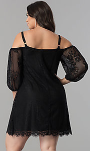 Image of plus-size off-shoulder lace party dress with straps. Style: AS-i700406A68X Back Image