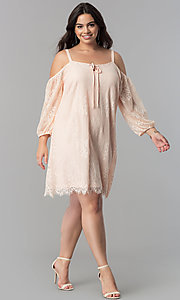 Image of plus-size off-shoulder lace party dress with straps. Style: AS-i700406A68X Detail Image 1