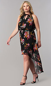 High-Low Long Print Casual Plus-Size Dress