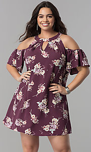 Short Cold-Shoulder Floral Print Shift Dress
