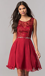 Short Semi-Formal Chiffon Dress with Jewels