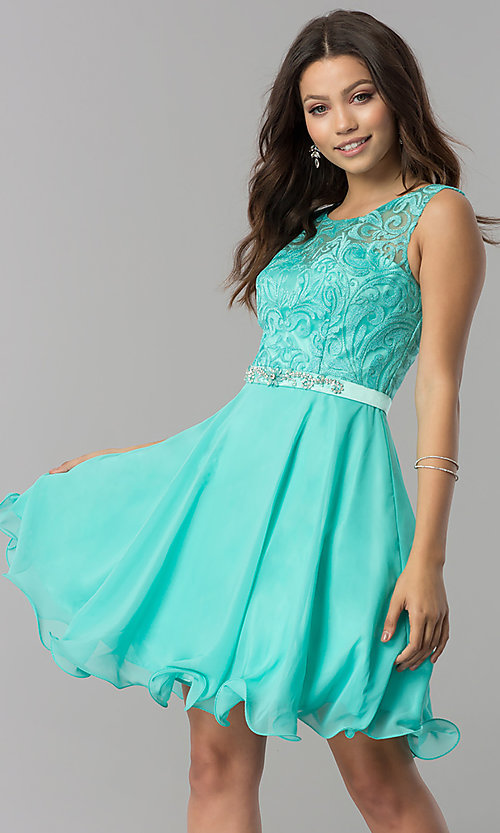 Image of short semi-formal chiffon dress with jewels. Style: FB-GS2314 Detail Image 3