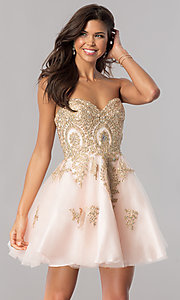 Image of strapless homecoming party dress with corset back. Style: FB-GS2371 Detail Image 1