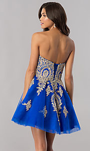 Image of strapless homecoming party dress with corset back. Style: FB-GS2371 Back Image