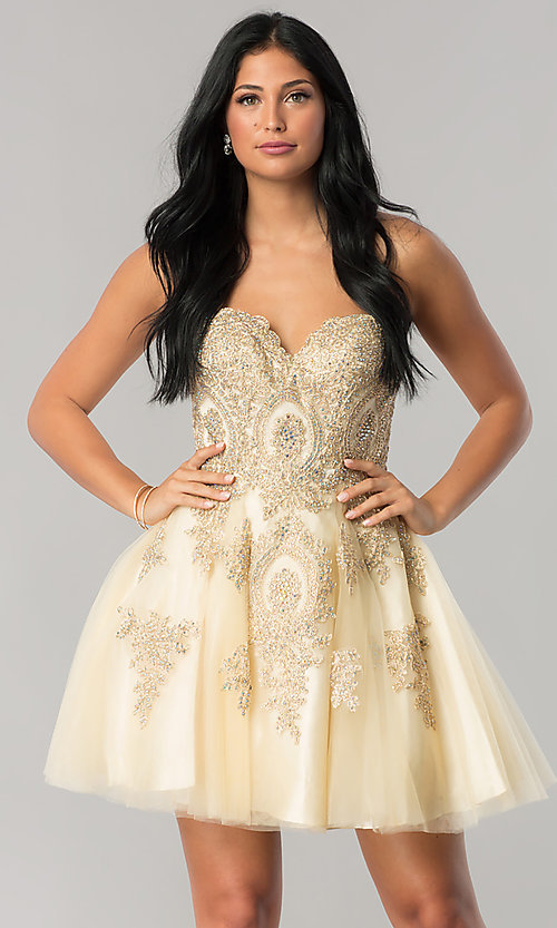 Image of strapless homecoming party dress with corset back. Style: FB-GS2371 Front Image