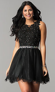 Image of short beaded waist fit-and-flare homecoming dress. Style: FB-GS2375 Front Image