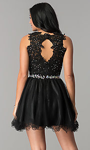 Image of short beaded waist fit-and-flare homecoming dress. Style: FB-GS2375 Back Image