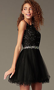 Image of short beaded waist fit-and-flare homecoming dress. Style: FB-GS2375 Detail Image 1