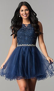Image of short beaded waist fit-and-flare homecoming dress. Style: FB-GS2375 Detail Image 4
