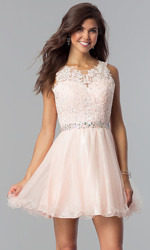 Image of short beaded waist fit-and-flare homecoming dress. Style: FB-GS2375 Detail Image 3