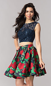 Print Two Piece Fit and Flare Homecoming Dress