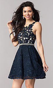 Navy Blue Lace Fit and Flare Homecoming Dress