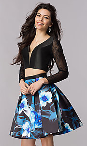 Two Piece Long Sleeved Sweetheart Homecoming Dress