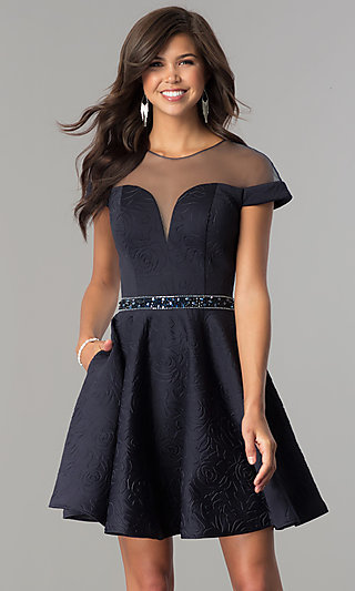 Illusion-Sweetheart Cap-Sleeve Homecoming Dress