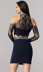 Image of two-piece homecoming dress with cold-shoulder sleeves. Style: KC-17523 Back Image
