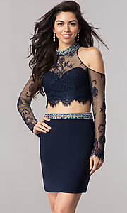 Image of two-piece homecoming dress with cold-shoulder sleeves. Style: KC-17523 Front Image