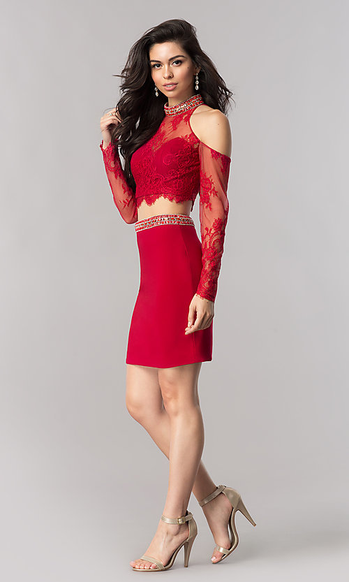 Image of two-piece homecoming dress with cold-shoulder sleeves. Style: KC-17523 Detail Image 2