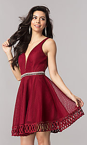 Short V-Neck Embellished Waist Homecoming Dress