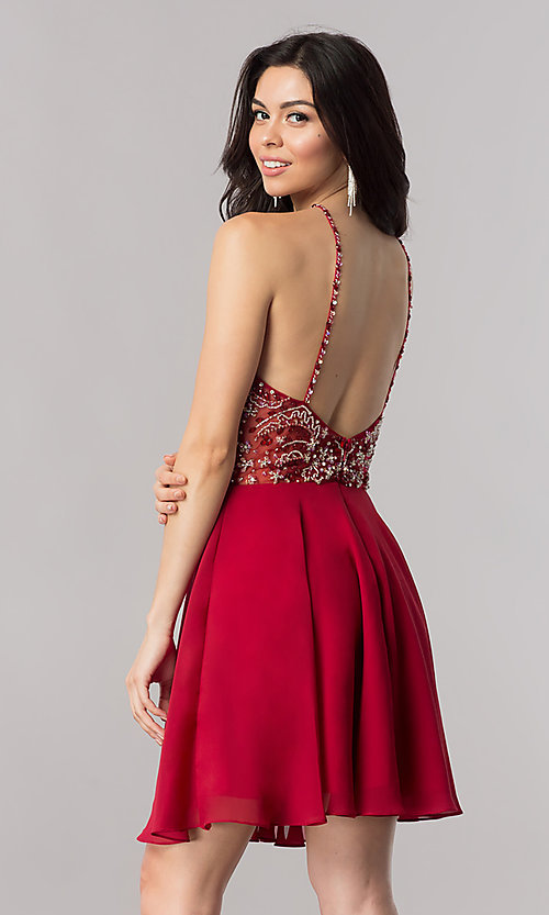 Image of chiffon short party dress with keyhole cut out. Style: KC-17540 Detail Image 3