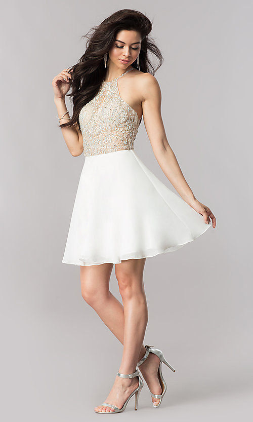 Image of chiffon short party dress with keyhole cut out. Style: KC-17540 Detail Image 1