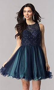 Open Back Navy Blue Homecoming Dress