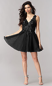 Image of short homecoming dress with sequin appliques. Style: KC-17546 Detail Image 3