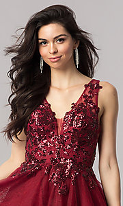 Image of short homecoming dress with sequin appliques. Style: KC-17546 Detail Image 1