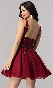 Image of short homecoming dress with sequin appliques. Style: KC-17546 Back Image