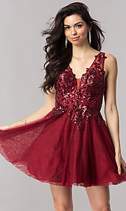 Short Homecoming Dress with Sequin Appliques