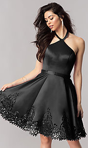 Image of halter homecoming party dress with laser-cut hem. Style: KC-17559 Detail Image 2