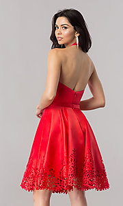 Image of halter homecoming party dress with laser-cut hem. Style: KC-17559 Back Image