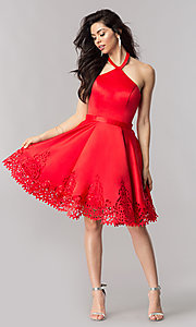 Image of halter homecoming party dress with laser-cut hem. Style: KC-17559 Detail Image 1
