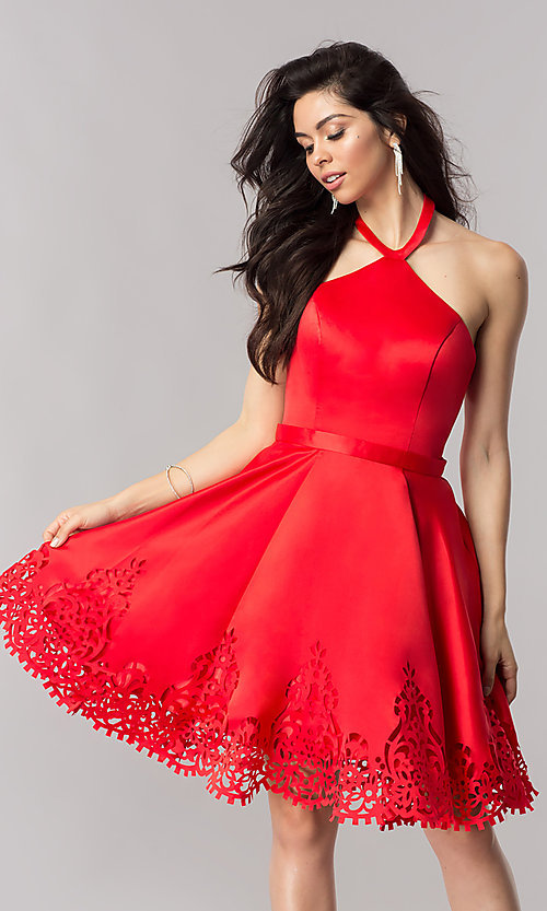 Image of halter homecoming party dress with laser-cut hem. Style: KC-17559 Front Image