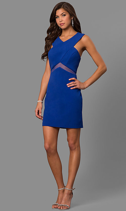 Image of short v-neck homecoming party dress with sheer waist. Style: FA-S8078 Detail Image 2