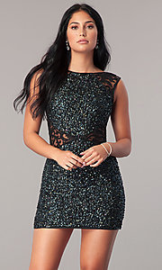 Short Bateau Neck Sequin Homecoming Dress