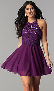 Open Back Homecoming Dress with Keyhole