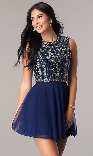 High Neck Homecoming Dress With Cap Sleeves