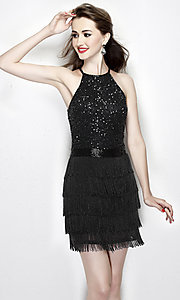 Short Sequin and Fringe Homecoming Dress