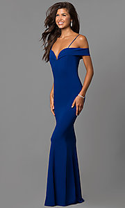Image of long off-the-shoulder evening dress with straps.  Style: MCR-1559 Detail Image 3