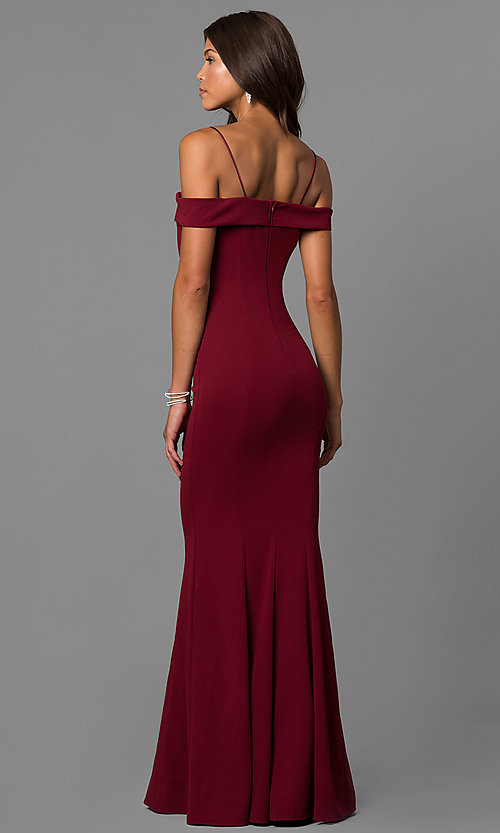 Image of long off-the-shoulder evening dress with straps.  Style: MCR-1559 Back Image
