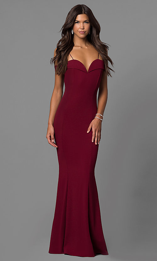 Image of long off-the-shoulder evening dress with straps.  Style: MCR-1559 Front Image
