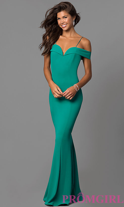 Image of long off-the-shoulder evening dress with straps.  Style: MCR-1559 Detail Image 2
