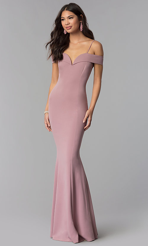 Image of long off-the-shoulder evening dress with straps.  Style: MCR-1559 Detail Image 1
