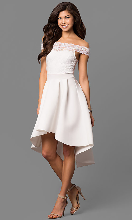Image of white high-low off-the-shoulder party dress with lace. Style: CL-45242w Front Image