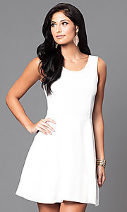 Image of short sleeveless royal party dress with scoop neck. Style: CH-2399w Detail Image 1