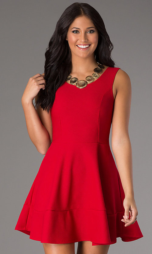 Image of short sleeveless royal party dress with scoop neck. Style: CH-2399w Detail Image 3