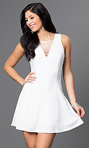 Image of short white princess-cut party dress with cutouts. Style: VJ-LD41005Gw Front Image