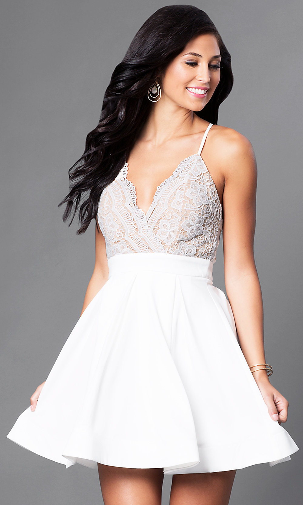 White Fit-and-Flare Party Dress with Lace - PromGirl
